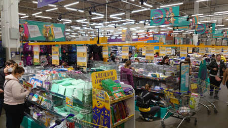 Russia, St. Petersburg 08/25/2020 Stationery in a supermarket before the start of the new school year