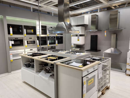 Russia, St. Petersburg 03/16/2021 Ovens in the Ikea store for sale