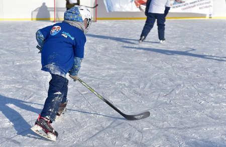 Russia, Kechevo, 12,02,2021 Playing ice hockey on an outdoor ice rink Editoriali