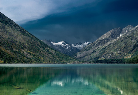 composure: Multinskoe lake before thunderstorm in the Altai mountains, Russia