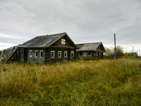 kostroma: Old houses in the abandoned village in Kostroma Oblast
