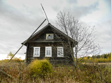 kostroma: Old house in the abandoned village in Kostroma Oblast Stock Photo