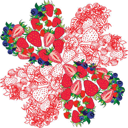 isolated image of berries on a white background Ilustração