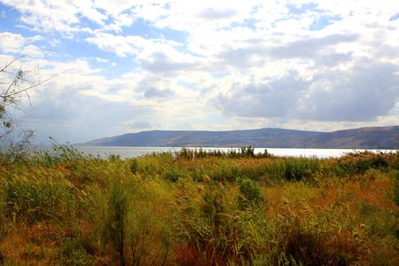 Sea of Galilee or Kineret lake in Israel  photo