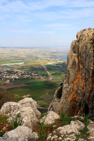 View of Arbel mountain in the Galilee, Israel photo