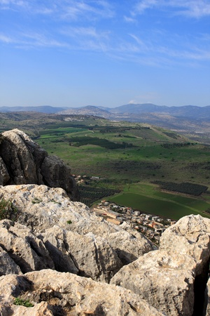 View of Galilee from Arbel mountain, Israel photo
