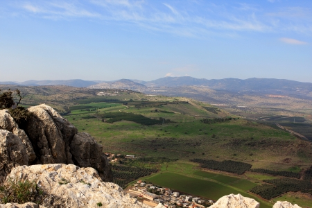 View of Galilee from Arbel mountain, Israel Stock Photo