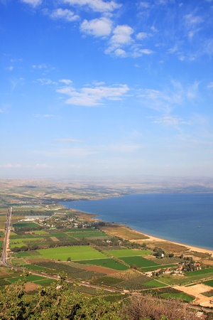 View of the sea of Galilee (Kineret lake) from Arbel mountain, Israel photo