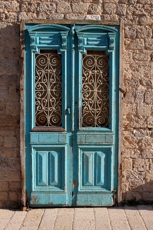 An old door of abandoned house in Jaffa