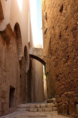 yafo: Narrow street in the ancient part of Jaffa, Israel Stock Photo