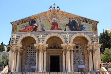 The Church of All Nations or Basilica of the Agony, is a Roman Catholic church near the Garden of Gethsemane at the Mount of Olives in Jerusalem, Israel Stock Photo