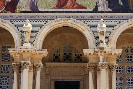 Detail of facade of The Church of All Nations or Basilica of the Agony, Jerusalem, Israel photo