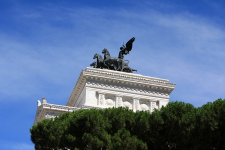 Top of the National monument to Vittorio Emanuele II (Victor Emmanuel II) or Altare della Patria (Altar of the Fatherland), Rome, Italy Stock Photo