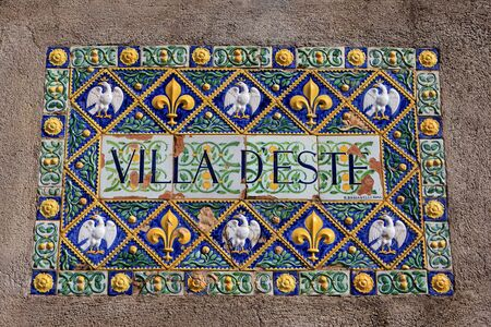 Villa d`Este sign on the wall, Tivoly, Italy