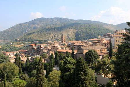 View of Tivoli from the villa d`Este, Italy Stock Photo
