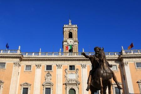Palazzo Senatorio and statue of Marcus Aurelius, Rome, Italy
