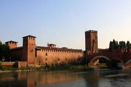 Castelvecchio (Old castle) and the Castelvecchio Bridge in Verona, construction of the Scaliger dynasty, Italy Stock Photo
