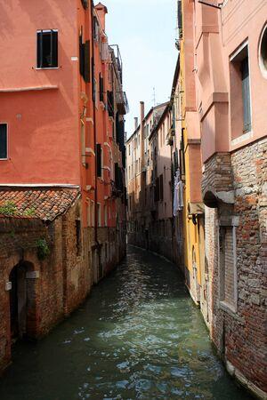 Photo of narrow canal in Venice, Italy Stock Photo
