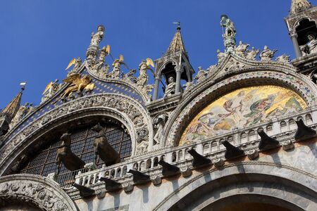saint mark's: Detail of Saint Marks Basilica, cathedral church at Piazza San Marco, Venice, Italy Stock Photo