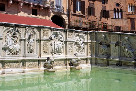 sienna: Detail of Fonte Gaia (Fountain of Joy) in the Piazza del Campo, Siena, Italy