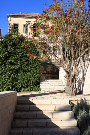 Stairs to the old house in Nazareth, Israel