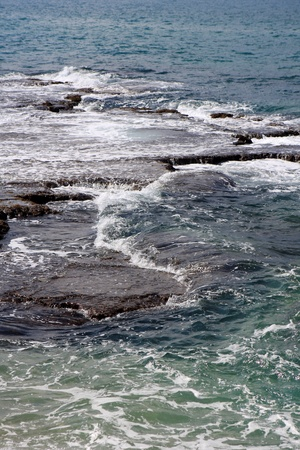 View of water of the mediterranean sea, Israel Stock Photo
