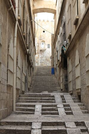 Narrow street in the old city of Jerusalem, Israel photo