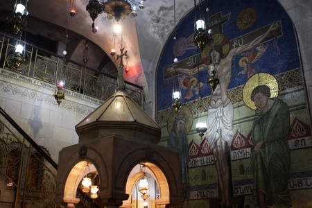 Interior fragment of the Church of the Holy Sepulchre, Jerusalem, Israel photo