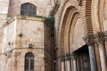 Main entrance to the church of the Holy Sepulchre, Jerusalem, Israel Stock Photo - 13041898