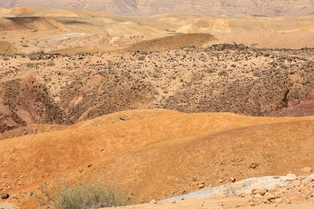 Different colored sand in Negev desert, Israel