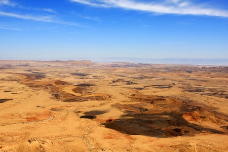 barren: View of Ramon Crater  Makhtesh Ramon , Israel Stock Photo