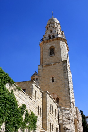 Bell Tower of the abbey of the Dormition of the Virgin Mary or Hagia Maria Sion Abbey, Benedictine abbey on Mt  Zion, Jerusalem, Israel photo