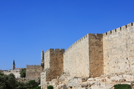 fortress: Old Jerusalem walls near the tower of David, Israel