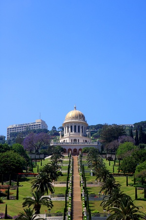View of the Shrine of the Bab and Bahai gardens on mount Carmel, Haifa, Israel photo