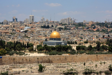 View of Jerusalem and The Dome of the Rock on the Temple Mount from the mount of Olives, Israel