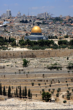 View of Jerusalem and The Dome of the Rock on the Temple Mount from the mount of Olives, Israel photo