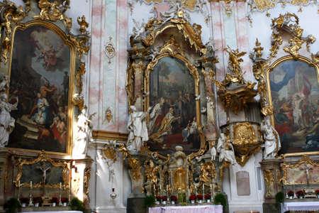 ettal: Interior of monastery church of Ettal abbey, Bavaria, Germany Editorial
