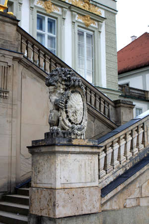 nymphenburg palace: Nymphenburg, Germany - July 17, 2012: Detail of The Nymphenburg Palace in Munich, Bavaria, Germany