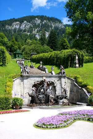 Linderhof, Germany July 18, 2012: Fountain in the park at Linderhof palace, Bavaria, Germany