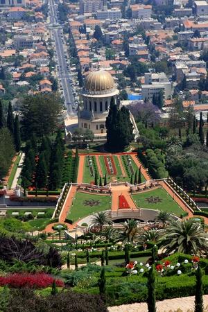 bahaullah: Haifa, Israel - 12 May, 2012: View of Bahai gardens and the Shrine of the Bab on mount Carmel