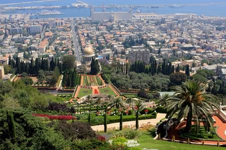 Haifa, Israel - 12 May, 2012: View of Bahai gardens and the Shrine of the Bab on mount Carmel Stock Photo - 14756783