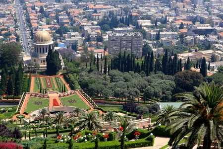 Haifa, Israel - 12 May, 2012: View of Bahai gardens and the Shrine of the Bab on mount Carmel