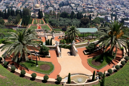 bahaullah: Haifa, Israel - 12 May, 2012: View of Bahai gardens and the Shrine of the Bab on mount Carmel