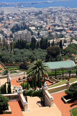 Haifa, Israel - 12 May, 2012: View of Bahai gardens on mount Carmel