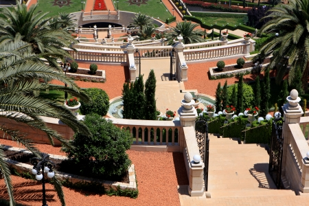 Haifa, Israel - 12 May, 2012: View of Bahai gardens on mount Carmel
