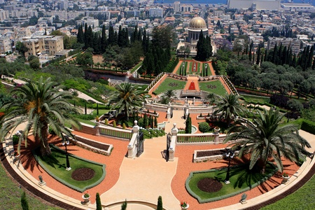 Haifa, Israel - 12 May, 2012: View of Bahai gardens and the Shrine of the Bab on mount Carmel Stock Photo - 14756787