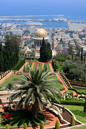 Haifa, Israel - 12 May, 2012: View of Bahai gardens and the Shrine of the Bab on mount Carmel Stock Photo - 14756771