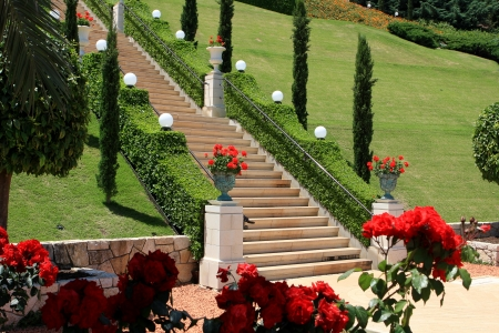 Haifa, Israel - 12 May, 2012: View of Bahai gardens on mount Carme Stock Photo - 14756774