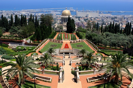 Haifa, Israel - 12 May, 2012: View of Bahai gardens and the Shrine of the Bab on mount Carmel Stock Photo - 14756779