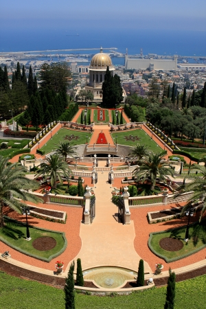 Haifa, Israel - 12 May, 2012: View of Bahai gardens and the Shrine of the Bab on mount Carmel Stock Photo - 14756773